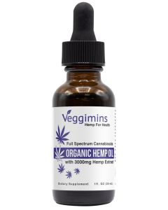 Veggimins Organic Hemp Oil with Hemp Extract - 3000 mg