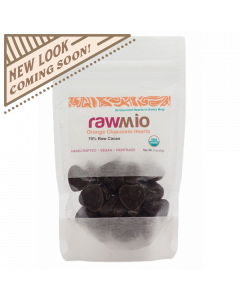 Raw Chocolate Hearts - Orange - 2oz