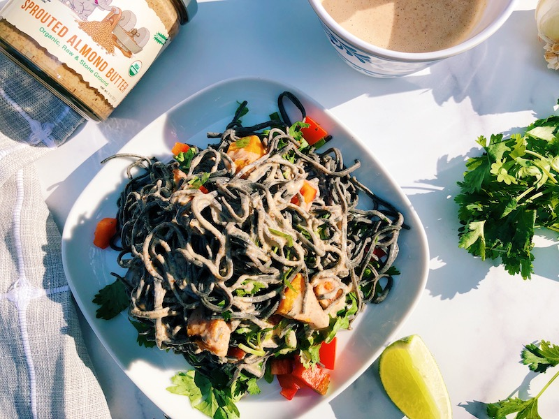 Vibrant Black Bean Noodle Salad with Spicy Sprouted Almond Butter Sauce