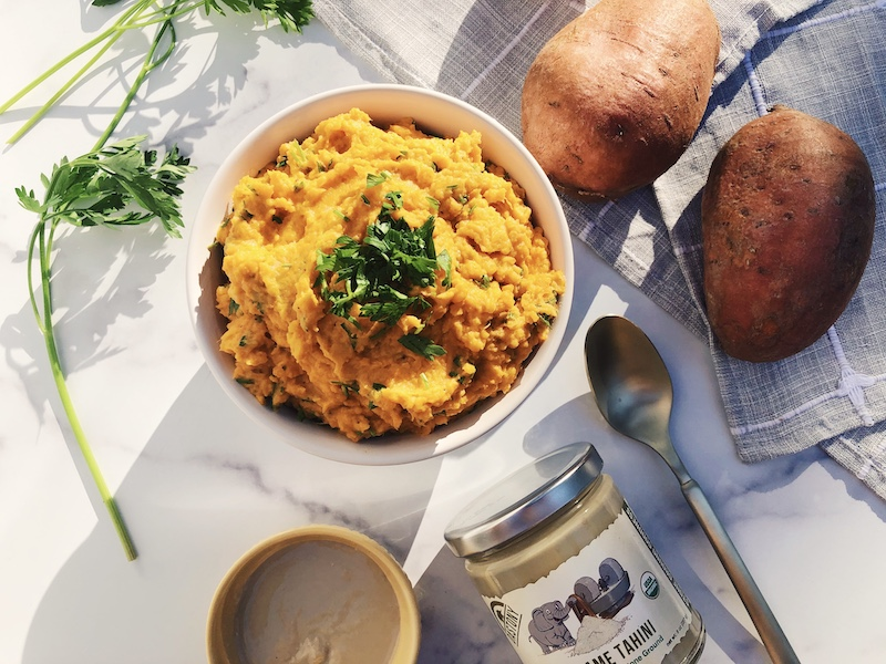 Savory Tahini Mashed Sweet Potatoes