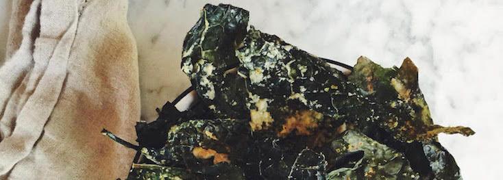 Oven Toasted Cheesy Tahini Kale Chips (Vegan, Paleo, EASY)