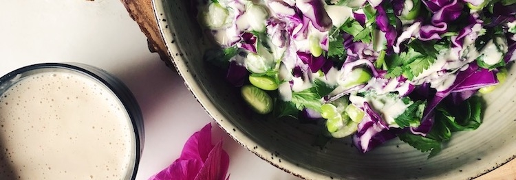 Purple Cabbage Salad with Ginger Tahini Dressing